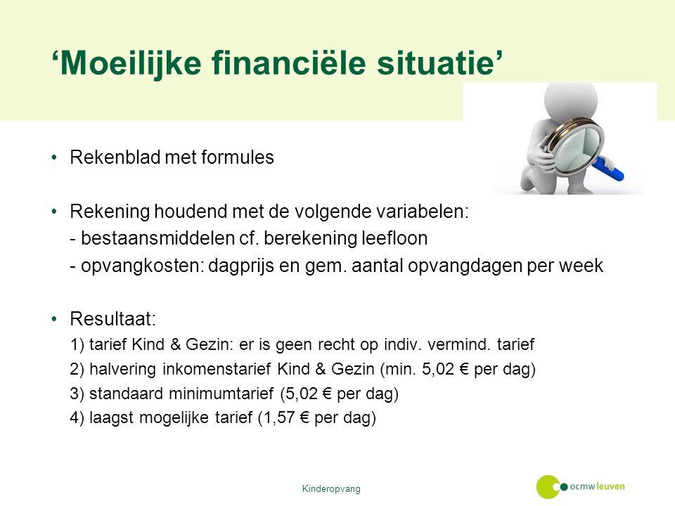 'Moeilijke financiële situatie' Rekenblad met formules Rekening houdend met de volgende variabelen: - bestaansmiddelen cf.