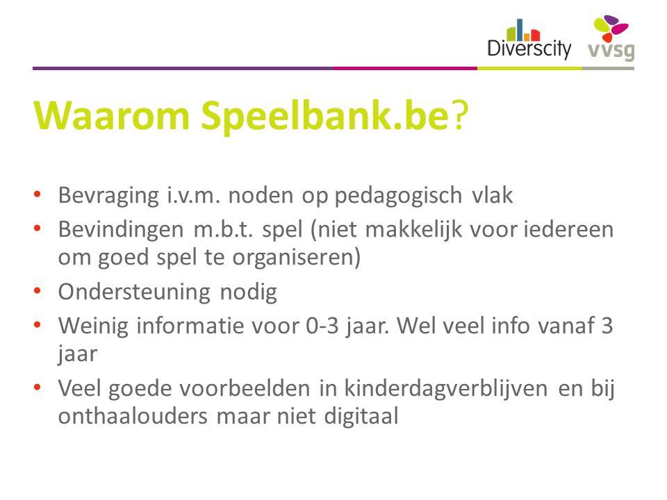 Waarom Speelbank.be. Bevraging i.v.m. noden op pedagogisch vlak Bevindingen m.b.t.