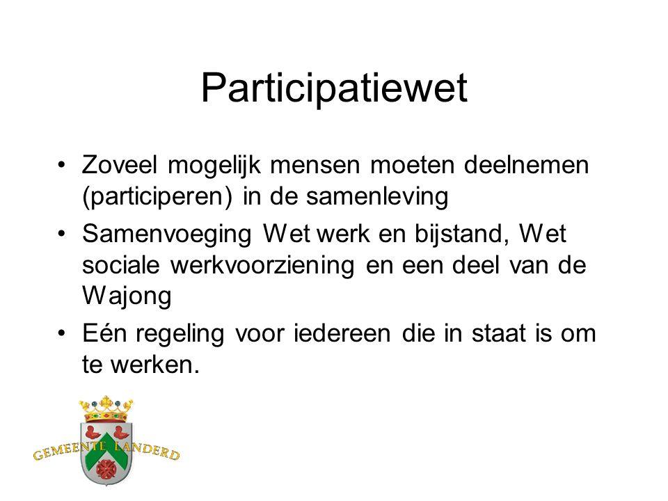 Participatiewet Zoveel mogelijk mensen moeten deelnemen (participeren) in de samenleving Samenvoeging Wet werk en bijstand, Wet sociale werkvoorzienin