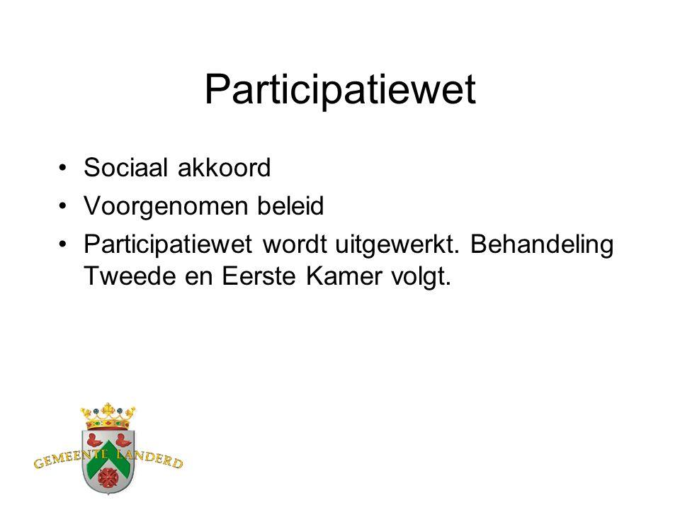 Participatiewet Sociaal akkoord Voorgenomen beleid Participatiewet wordt uitgewerkt. Behandeling Tweede en Eerste Kamer volgt.