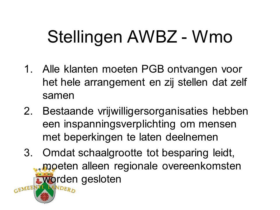 Stellingen AWBZ - Wmo 1.Alle klanten moeten PGB ontvangen voor het hele arrangement en zij stellen dat zelf samen 2.Bestaande vrijwilligersorganisaties hebben een inspanningsverplichting om mensen met beperkingen te laten deelnemen 3.Omdat schaalgrootte tot besparing leidt, moeten alleen regionale overeenkomsten worden gesloten