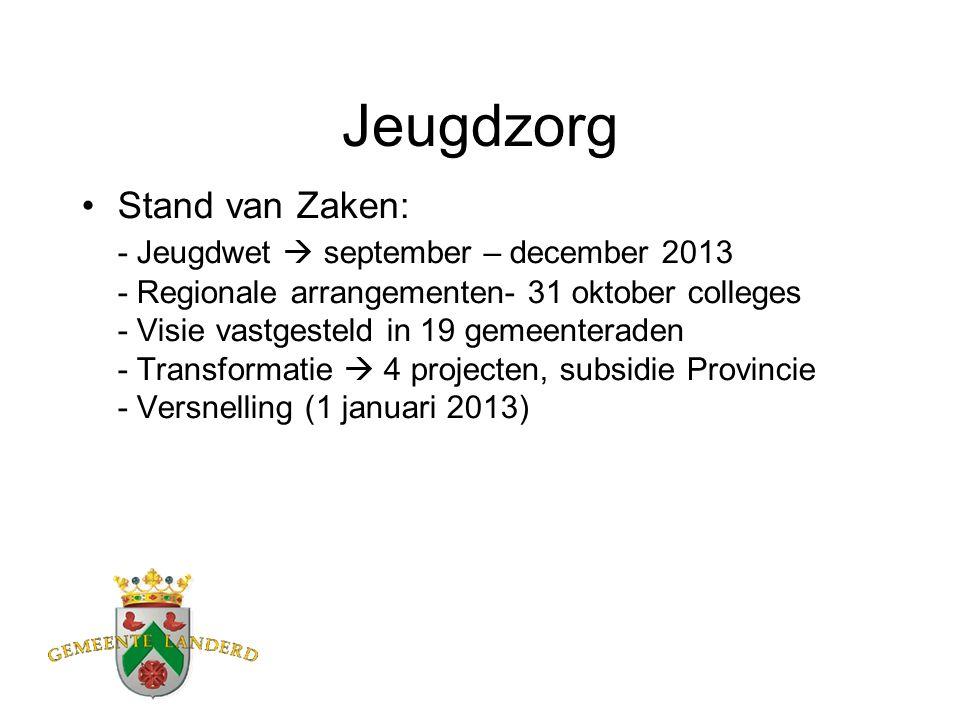 Jeugdzorg Stand van Zaken: - Jeugdwet  september – december 2013 - Regionale arrangementen- 31 oktober colleges - Visie vastgesteld in 19 gemeenteraden - Transformatie  4 projecten, subsidie Provincie - Versnelling (1 januari 2013)