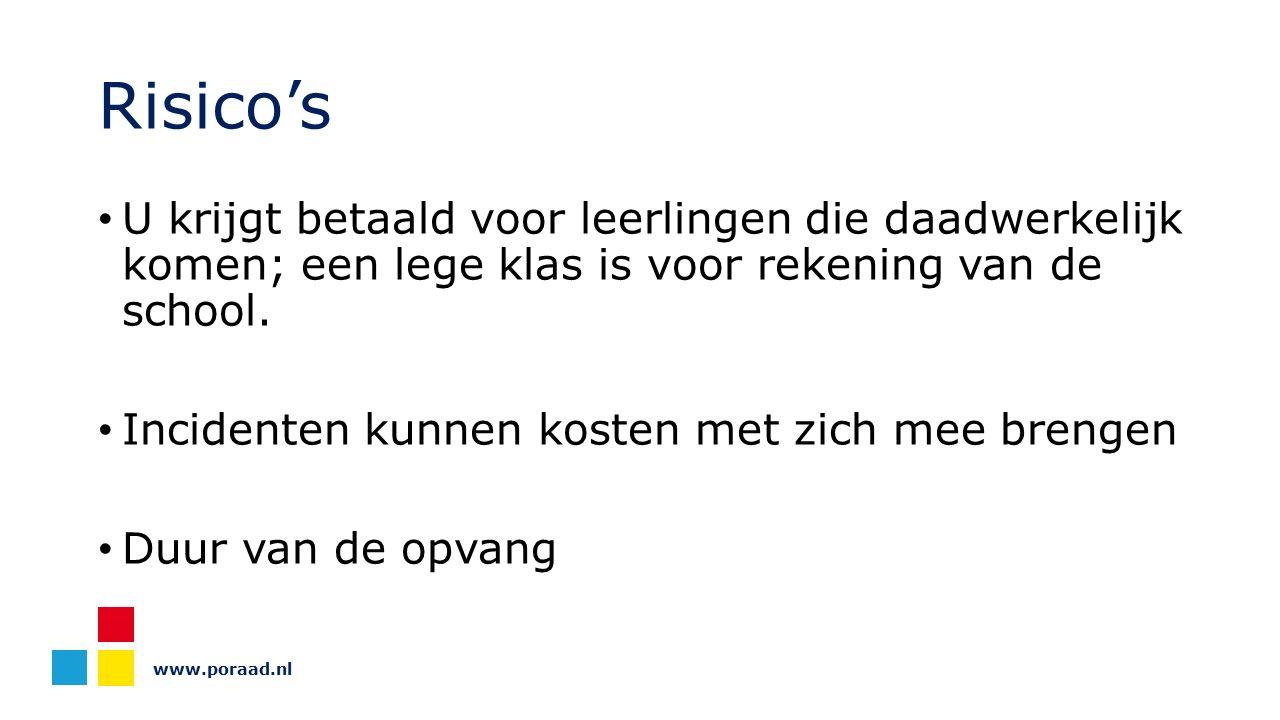 www.poraad.nl Risico's U krijgt betaald voor leerlingen die daadwerkelijk komen; een lege klas is voor rekening van de school. Incidenten kunnen koste
