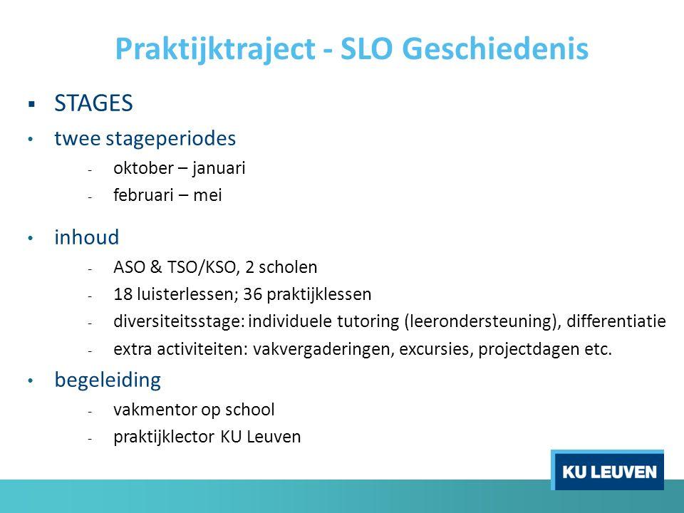  STAGES twee stageperiodes - oktober – januari - februari – mei inhoud - ASO & TSO/KSO, 2 scholen - 18 luisterlessen; 36 praktijklessen - diversiteit