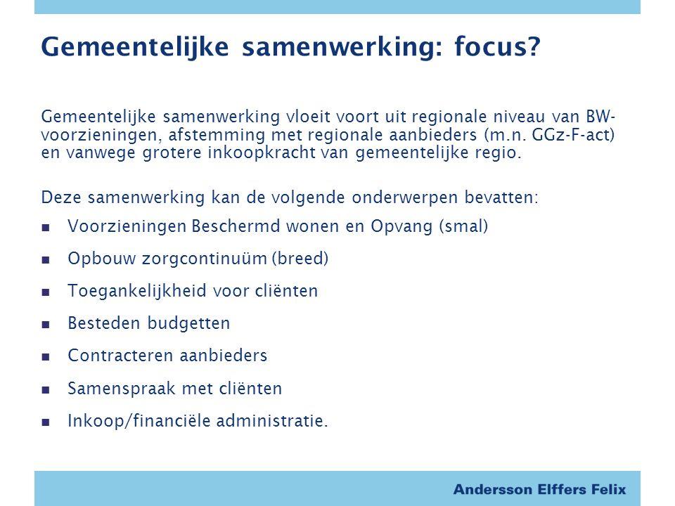 Gemeentelijke samenwerking: focus.