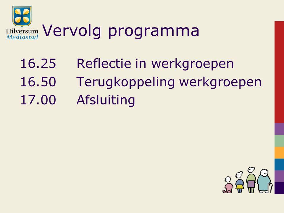 Vervolg programma 16.25Reflectie in werkgroepen 16.50Terugkoppeling werkgroepen 17.00Afsluiting