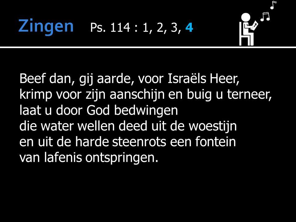 Beef dan, gij aarde, voor Israëls Heer, krimp voor zijn aanschijn en buig u terneer, laat u door God bedwingen die water wellen deed uit de woestijn en uit de harde steenrots een fontein van lafenis ontspringen.
