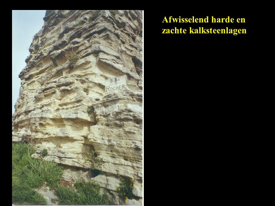 Afwisselend harde en zachte kalksteenlagen