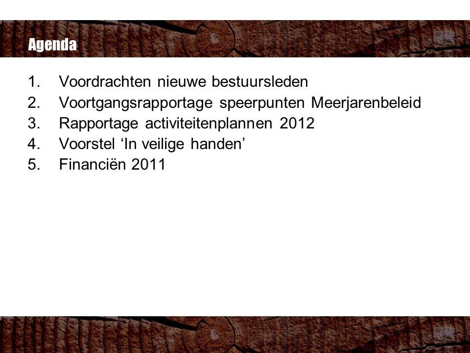 Agenda 1.Voordrachten nieuwe bestuursleden 2.Voortgangsrapportage speerpunten Meerjarenbeleid 3.Rapportage activiteitenplannen 2012 4.Voorstel 'In veilige handen' 5.Financiën 2011