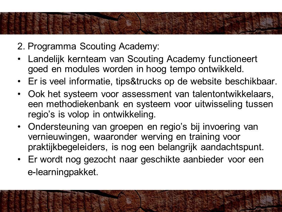 2. Programma Scouting Academy: Landelijk kernteam van Scouting Academy functioneert goed en modules worden in hoog tempo ontwikkeld. Er is veel inform