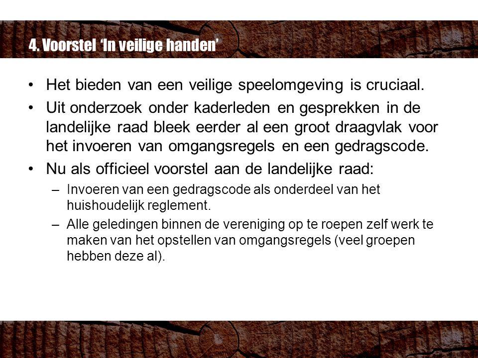 4. Voorstel 'In veilige handen' Het bieden van een veilige speelomgeving is cruciaal.