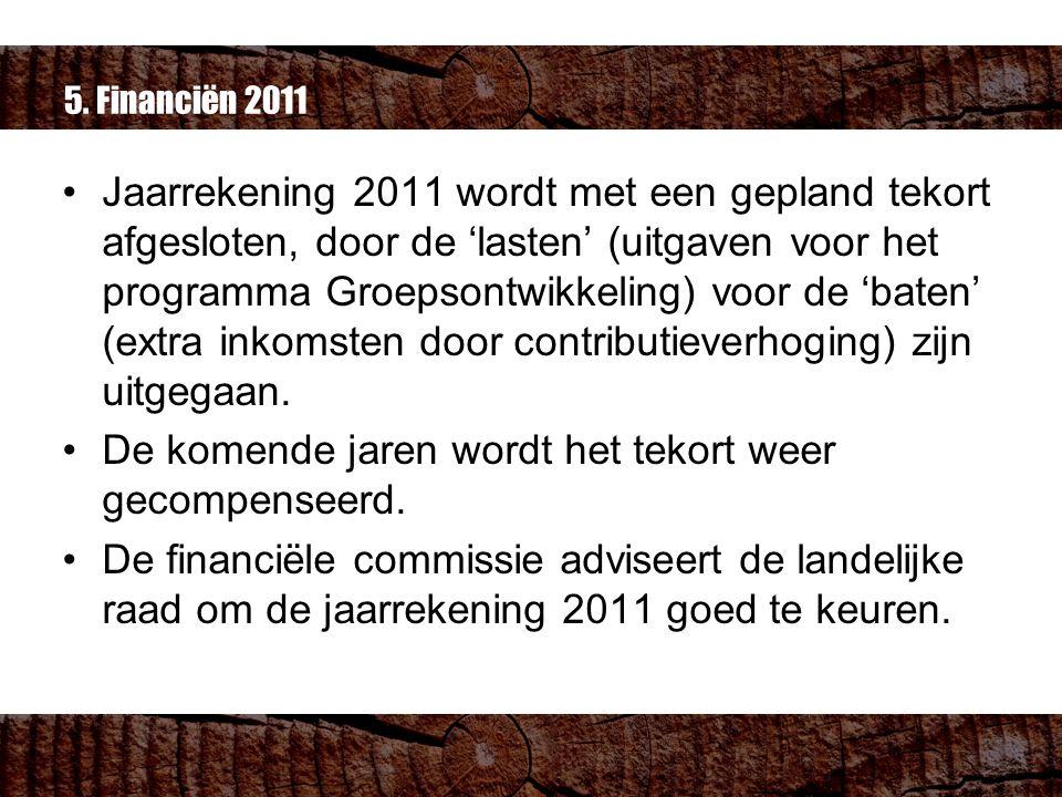 5. Financiën 2011 Jaarrekening 2011 wordt met een gepland tekort afgesloten, door de 'lasten' (uitgaven voor het programma Groepsontwikkeling) voor de