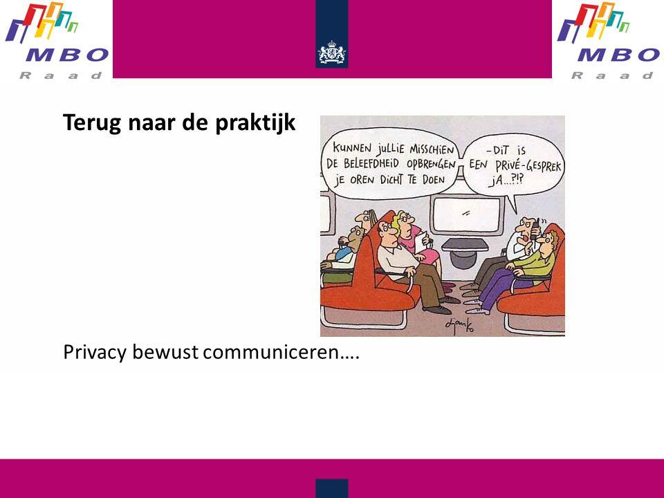 Terug naar de praktijk Privacy bewust communiceren….