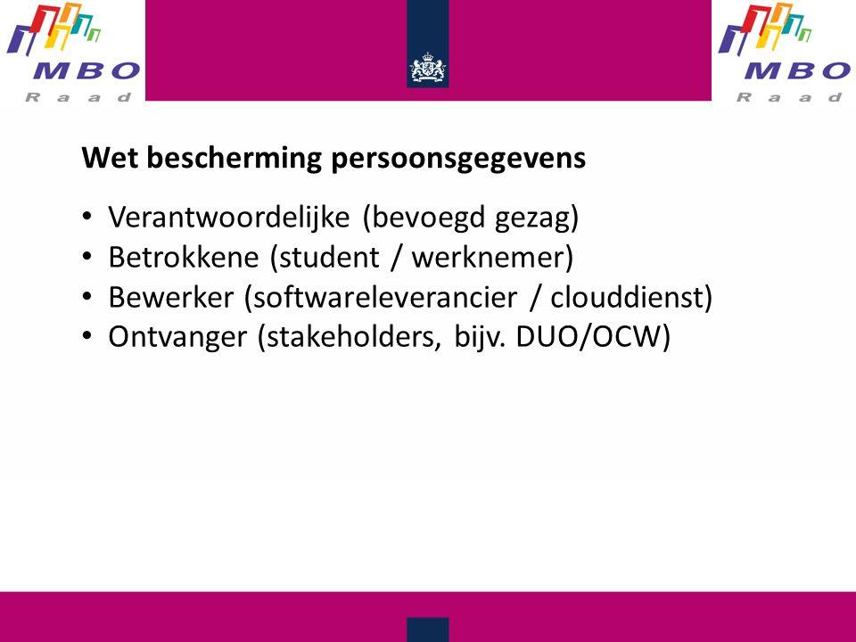 Wet bescherming persoonsgegevens Verantwoordelijke (bevoegd gezag) Betrokkene (student / werknemer) Bewerker (softwareleverancier / clouddienst) Ontvanger (stakeholders, bijv.