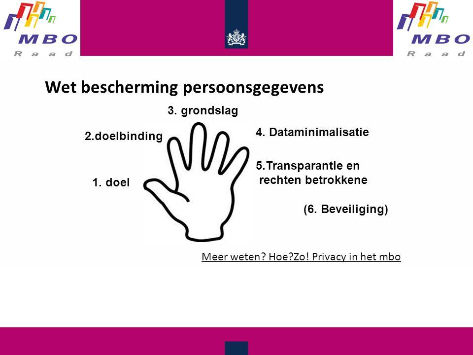 Wet bescherming persoonsgegevens 1. doel 2.doelbinding 3.