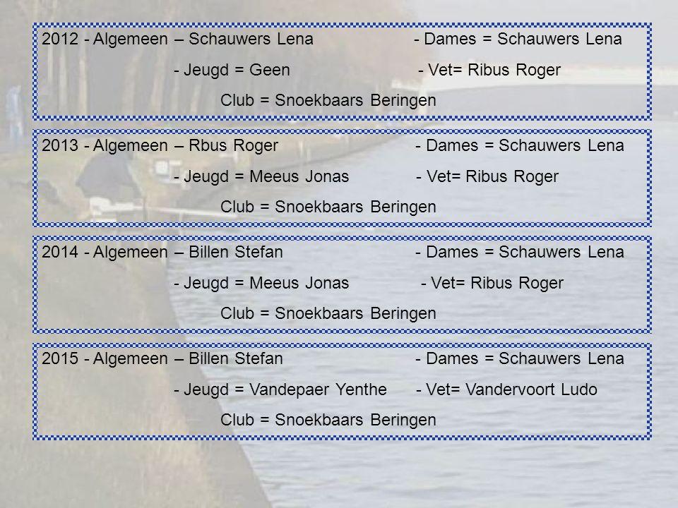 2012 - Algemeen – Schauwers Lena - Dames = Schauwers Lena - Jeugd = Geen - Vet= Ribus Roger Club = Snoekbaars Beringen 2013 - Algemeen – Rbus Roger - Dames = Schauwers Lena - Jeugd = Meeus Jonas - Vet= Ribus Roger Club = Snoekbaars Beringen 2014 - Algemeen – Billen Stefan - Dames = Schauwers Lena - Jeugd = Meeus Jonas - Vet= Ribus Roger Club = Snoekbaars Beringen 2015 - Algemeen – Billen Stefan - Dames = Schauwers Lena - Jeugd = Vandepaer Yenthe - Vet= Vandervoort Ludo Club = Snoekbaars Beringen