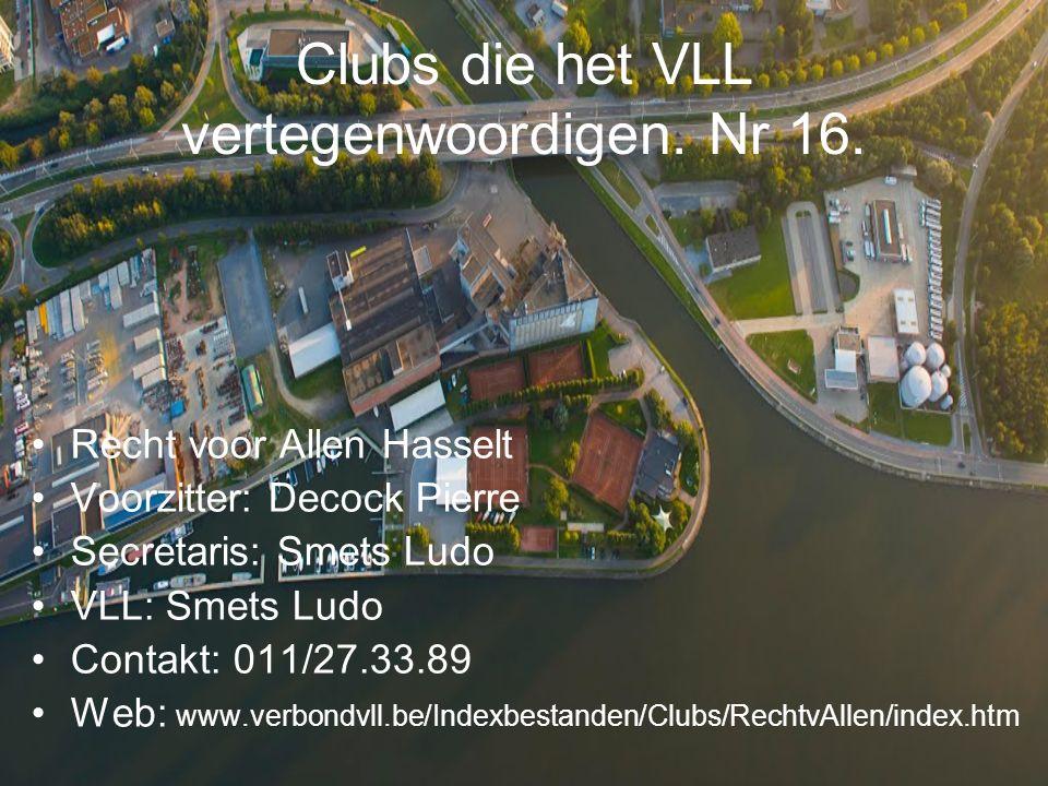 Clubs die het VLL vertegenwoordigen.Nr 17.