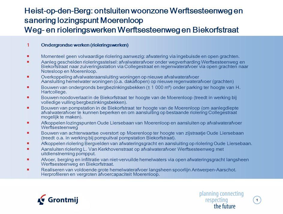 1 Heist-op-den-Berg: ontsluiten woonzone Werftsesteenweg en sanering lozingspunt Moerenloop Weg- en rioleringswerken Werftsesteenweg en Biekorfstraat