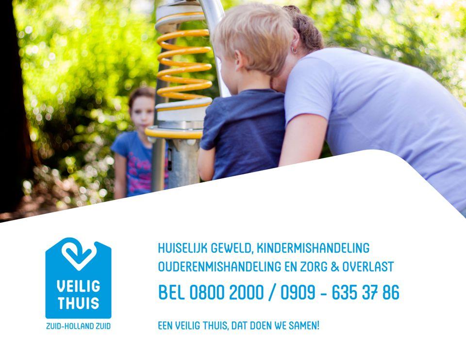 Veilig Thuis Zuid-Holland Zuid 2 aparte organisaties tot 31 december 2014 Meldpunt Zorg & Overlast / Steunpunt huiselijk geweld Advies- en Meldpunt Kindermishandeling Sinds 1 januari 2015 zijn het AMHK en Meldpunt Zorg & overlast ondergebracht bij Veilig Thuis Zuid-Holland Zuid.