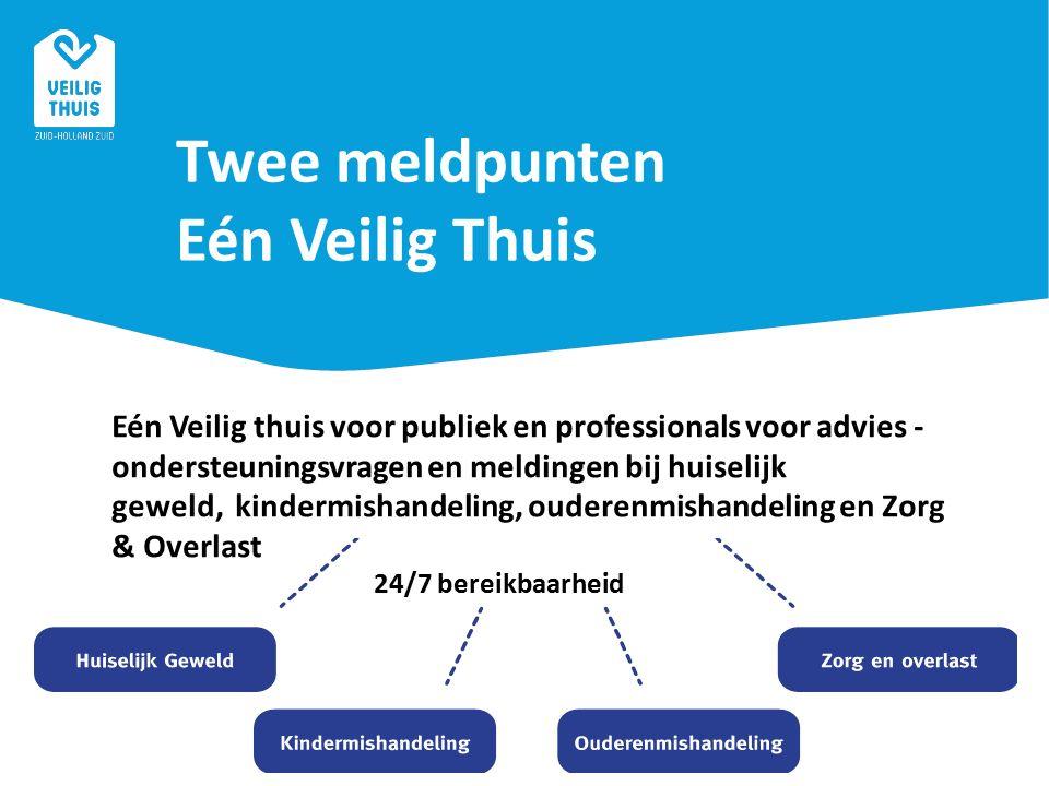 Twee meldpunten Eén Veilig Thuis Eén Veilig thuis voor publiek en professionals voor advies - ondersteuningsvragen en meldingen bij huiselijk geweld, kindermishandeling, ouderenmishandeling en Zorg & Overlast 24/7 bereikbaarheid