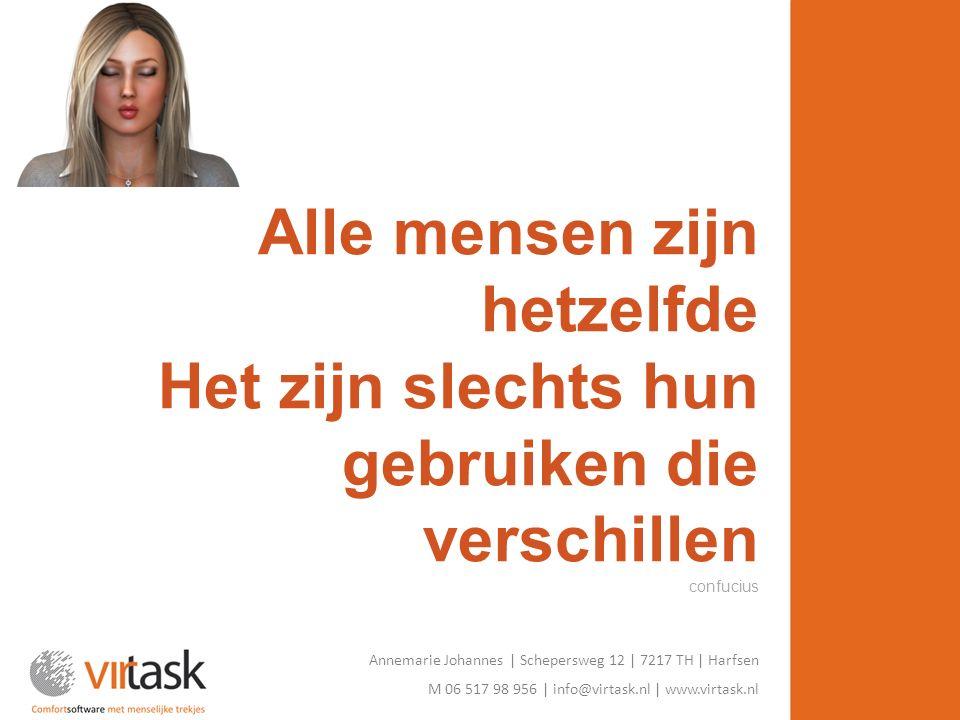 Annemarie Johannes | Schepersweg 12 | 7217 TH | Harfsen M 06 517 98 956 | info@virtask.nl | www.virtask.nl Alle mensen zijn hetzelfde Het zijn slechts hun gebruiken die verschillen confucius