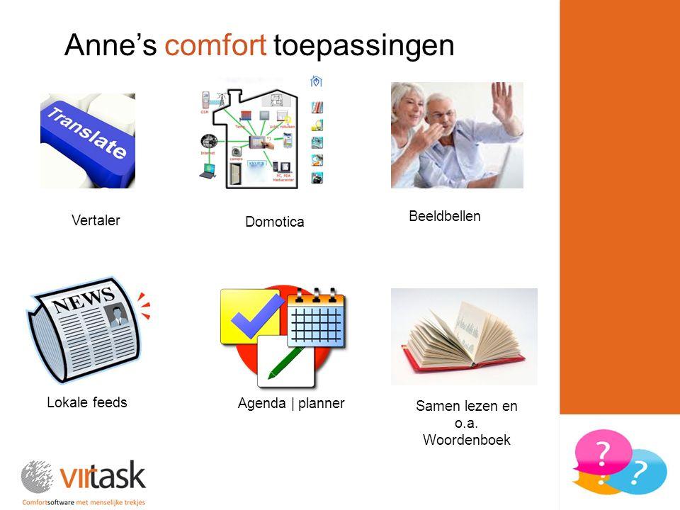 Domotica Agenda | planner Vertaler Anne's comfort toepassingen Beeldbellen Lokale feeds Samen lezen en o.a. Woordenboek