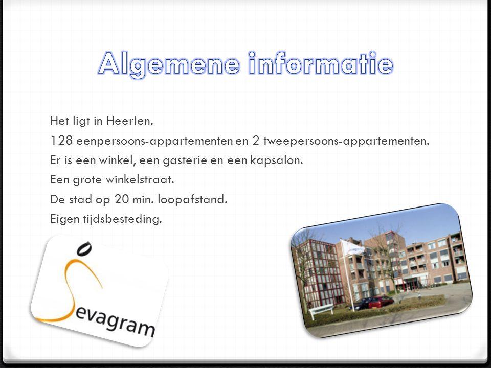 Het ligt in Heerlen. 128 eenpersoons-appartementen en 2 tweepersoons-appartementen.