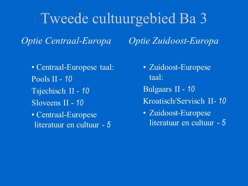 Tweede cultuurgebied Ba 3 Optie Centraal-Europa Centraal-Europese taal: Pools II - 10 Tsjechisch II - 10 Sloveens II - 10 Centraal-Europese literatuur en cultuur - 5 Optie Zuidoost-Europa Zuidoost-Europese taal: Bulgaars II - 10 Kroatisch/Servisch II- 10 Zuidoost-Europese literatuur en cultuur - 5