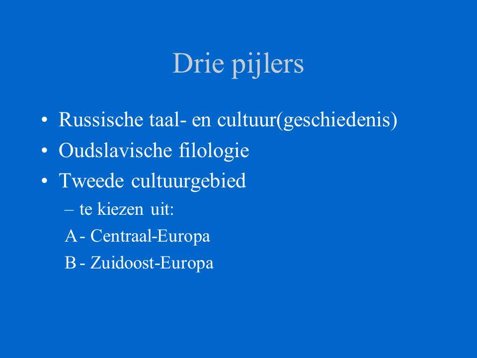 Drie pijlers Russische taal- en cultuur(geschiedenis) Oudslavische filologie Tweede cultuurgebied –te kiezen uit: A- Centraal-Europa B- Zuidoost-Europa