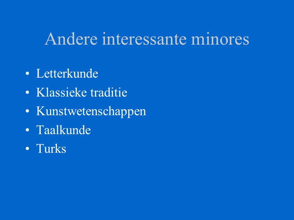 Andere interessante minores Letterkunde Klassieke traditie Kunstwetenschappen Taalkunde Turks