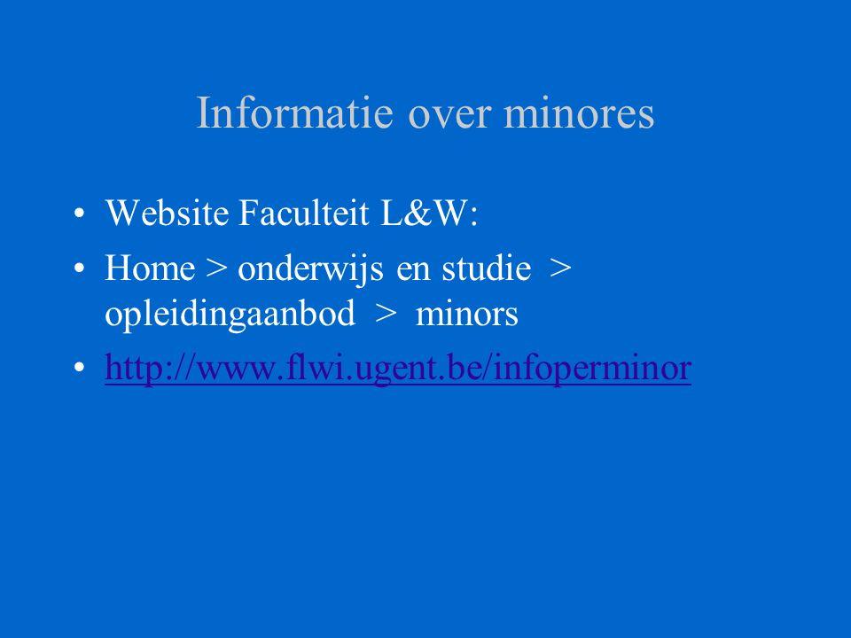 Informatie over minores Website Faculteit L&W: Home > onderwijs en studie > opleidingaanbod > minors http://www.flwi.ugent.be/infoperminor