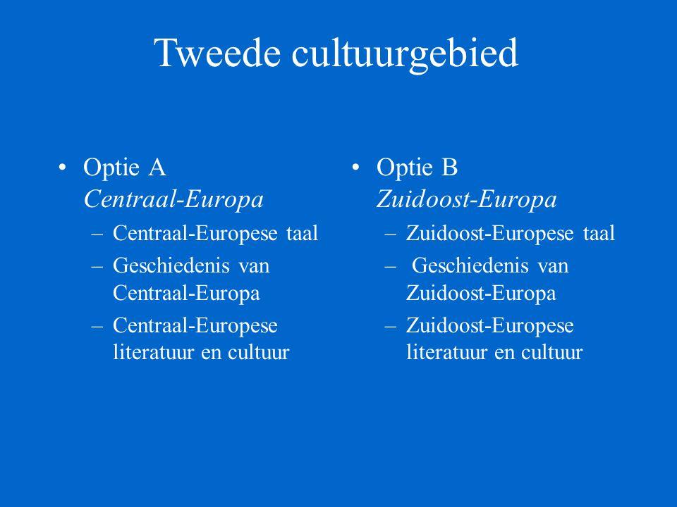 Tweede cultuurgebied Ba 2 Optie Centraal-Europa Centraal-Europese taal, te kiezen uit: - Pools I - 10 - Tsjechisch I - 10 - Sloveens I - 10 Geschiedenis van Centraal-Europa - 5 Optie Zuidoost-Europa Zuidoost-Europese taal, te kiezen uit : -Bulgaars I - 10 -Kroatisch/Servisch I - 10 Geschiedenis van Zuidoost-Europa - 5