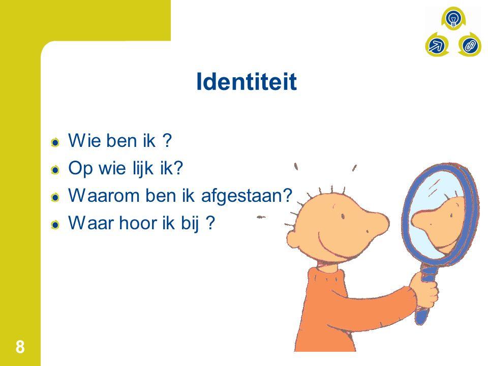 8 Identiteit Wie ben ik ? Op wie lijk ik? Waarom ben ik afgestaan? Waar hoor ik bij ?