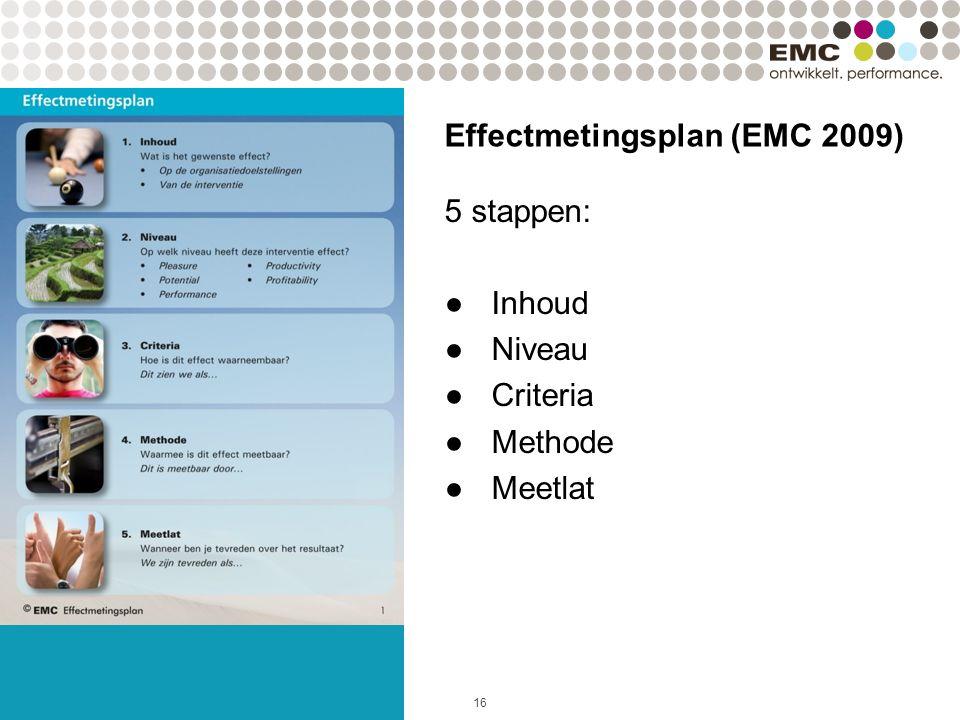 16 Effectmetingsplan (EMC 2009) 5 stappen: ●Inhoud ●Niveau ●Criteria ●Methode ●Meetlat