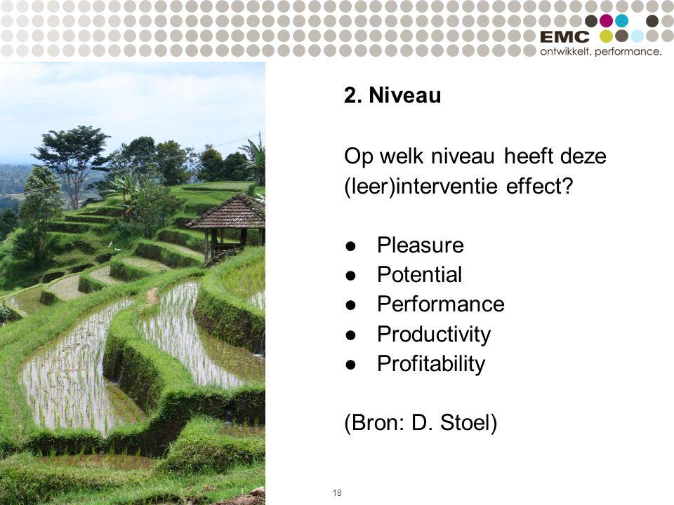 18 2.Niveau Op welk niveau heeft deze (leer)interventie effect.