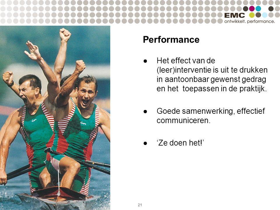 21 Performance ●Het effect van de (leer)interventie is uit te drukken in aantoonbaar gewenst gedrag en het toepassen in de praktijk. ●Goede samenwerki