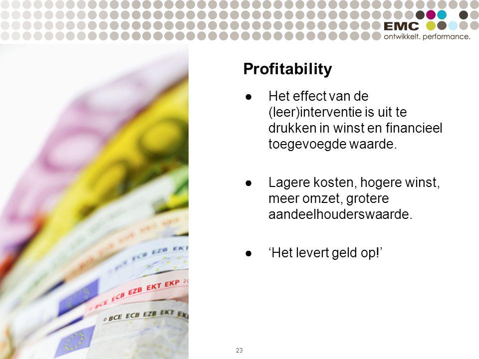 23 ●Het effect van de (leer)interventie is uit te drukken in winst en financieel toegevoegde waarde.