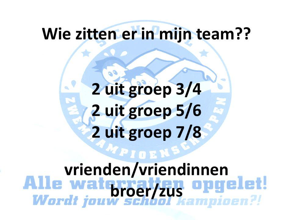 Wie zitten er in mijn team?? 2 uit groep 3/4 2 uit groep 5/6 2 uit groep 7/8 vrienden/vriendinnen broer/zus