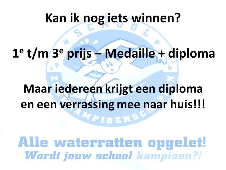 Kan ik nog iets winnen? 1 e t/m 3 e prijs – Medaille + diploma Maar iedereen krijgt een diploma en een verrassing mee naar huis!!!