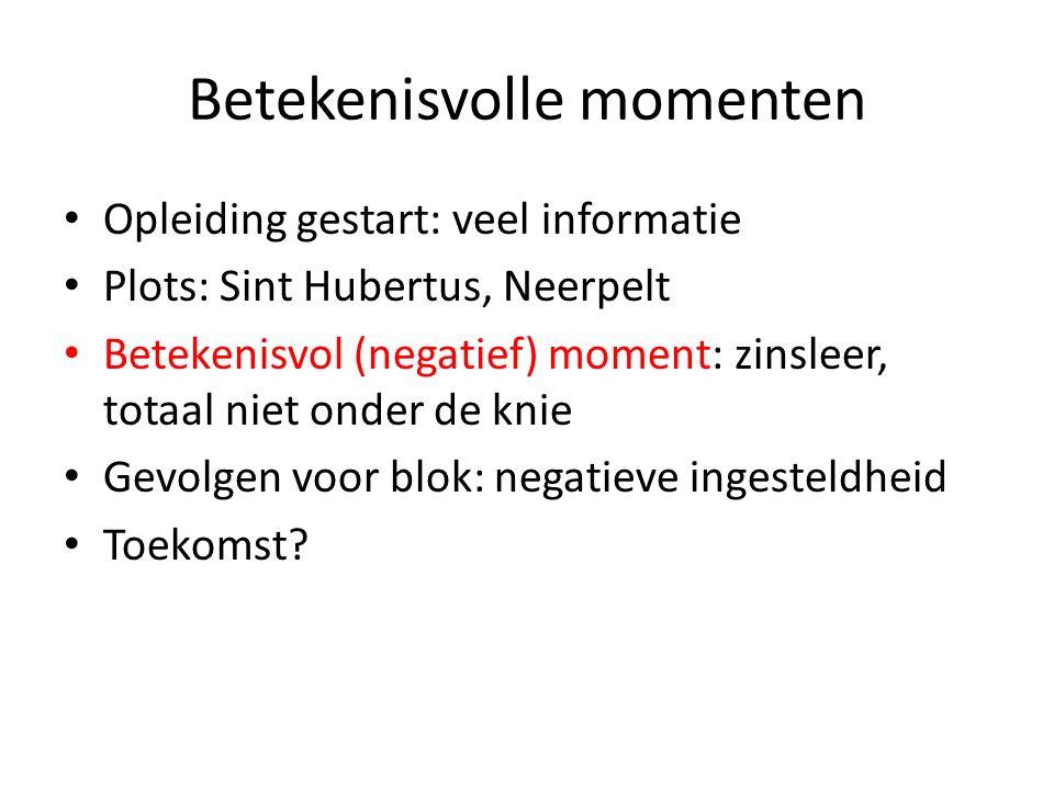 Betekenisvolle momenten Opleiding gestart: veel informatie Plots: Sint Hubertus, Neerpelt Betekenisvol (negatief) moment: zinsleer, totaal niet onder de knie Gevolgen voor blok: negatieve ingesteldheid Toekomst