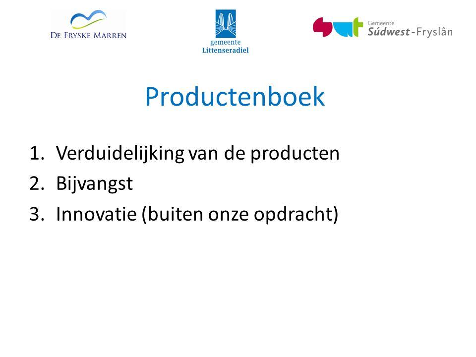 Productenboek 1.Verduidelijking van de producten 2.Bijvangst 3.Innovatie (buiten onze opdracht)