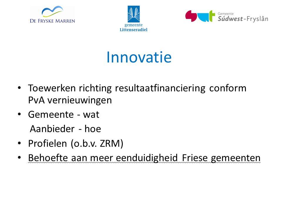 Innovatie Toewerken richting resultaatfinanciering conform PvA vernieuwingen Gemeente - wat Aanbieder - hoe Profielen (o.b.v.