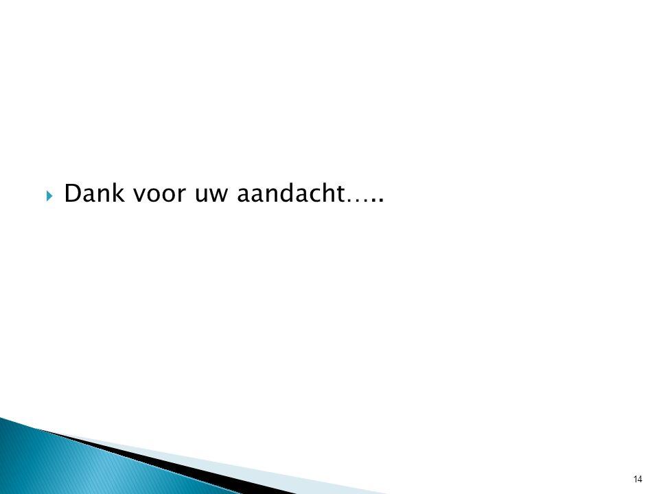 Dank voor uw aandacht….. 14
