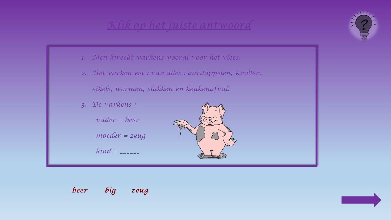 1.Men kweekt varkens vooral voor het vlees.