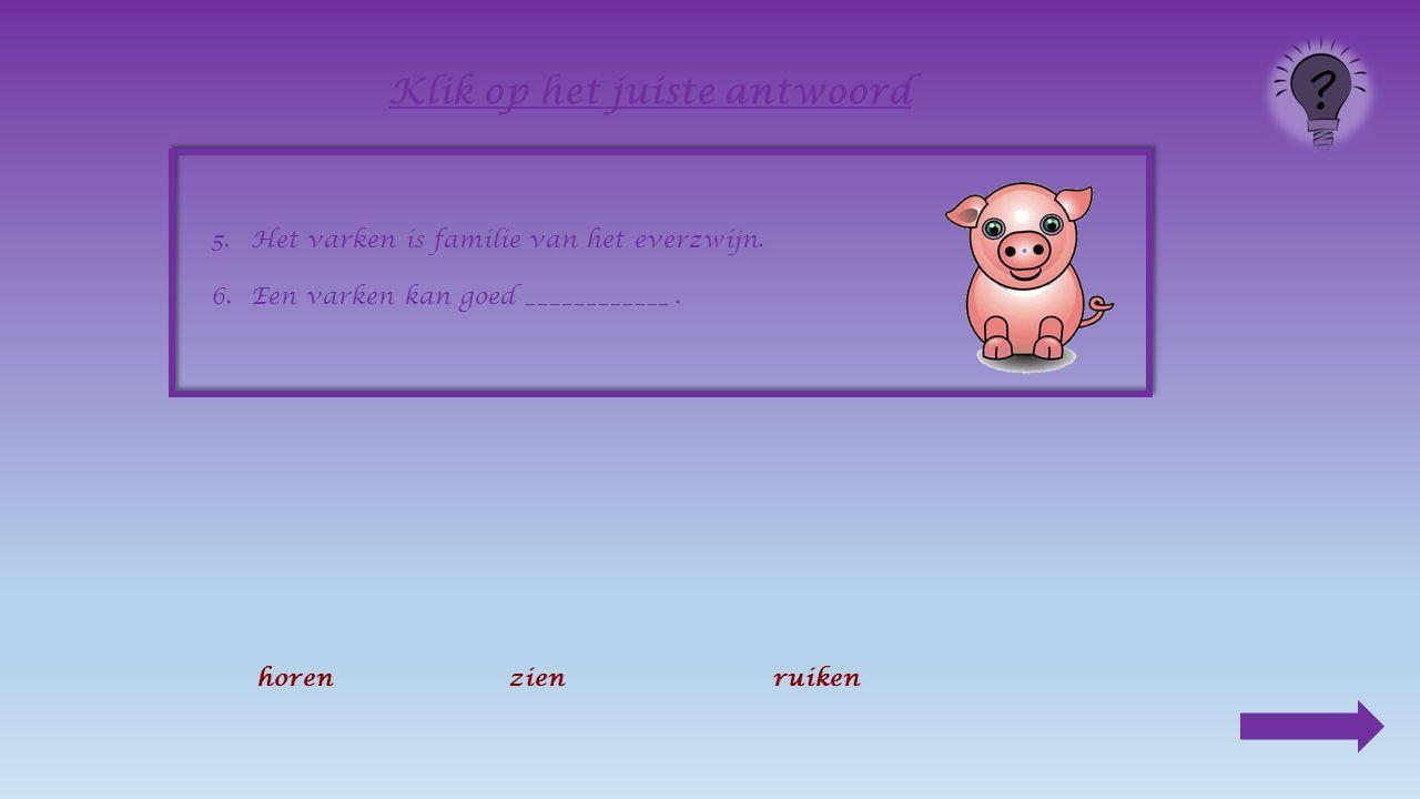 5.Het varken is familie van _____________________ Klik op het juiste antwoord de moeflonhet everzwijnhet stekelvarken