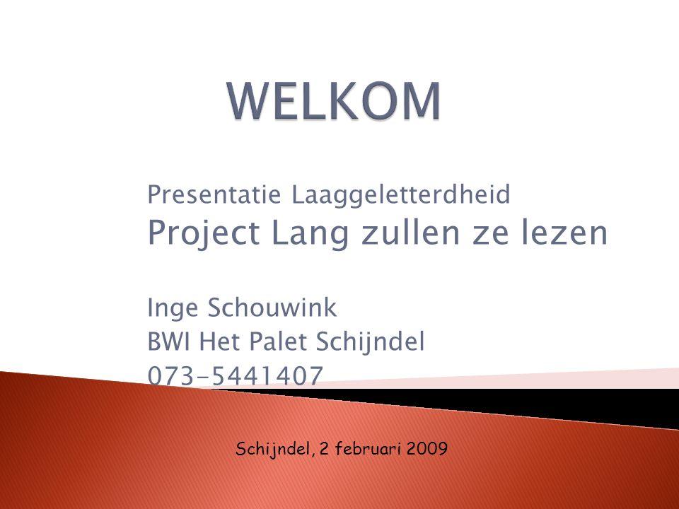 Presentatie Laaggeletterdheid Project Lang zullen ze lezen Inge Schouwink BWI Het Palet Schijndel 073-5441407 Schijndel, 2 februari 2009