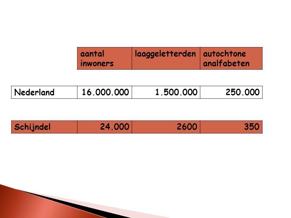 aantal inwoners laaggeletterdenautochtone analfabeten Nederland16.000.0001.500.000250.000 Schijndel24.0002600350