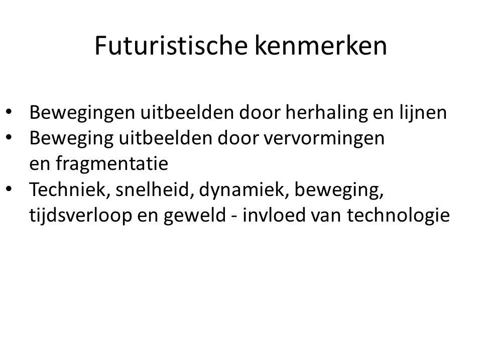 Opdracht 1: De futuristen leggen de nadruk op actie en beweging.