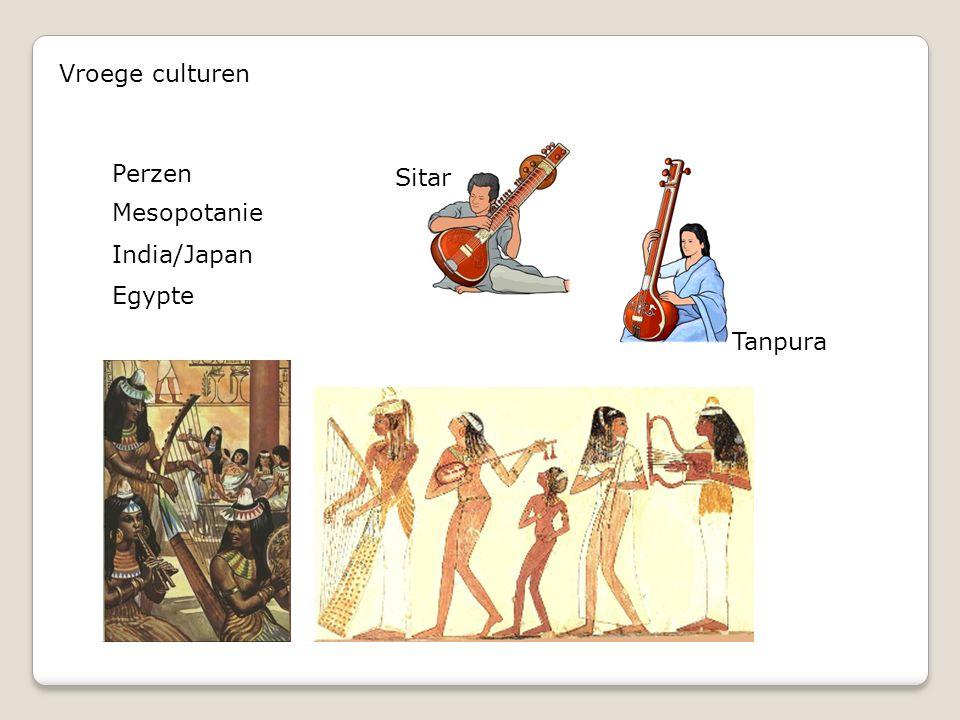 Vroege culturen Perzen Mesopotanie India/Japan Egypte Tanpura Sitar