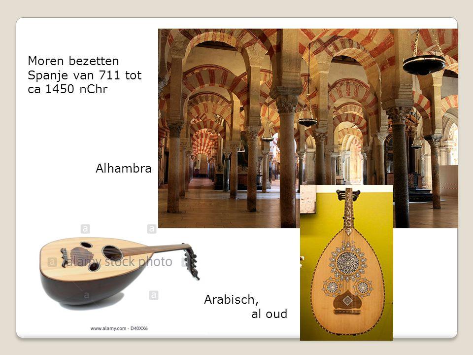 Moren bezetten Spanje van 711 tot ca 1450 nChr Arabisch, al oud Alhambra
